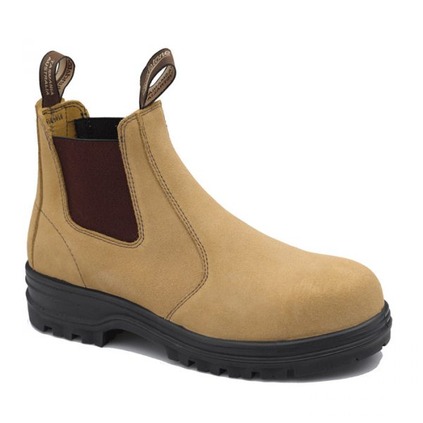 Blundstone 145 Slip On Safety Boots Fawn Suede-0