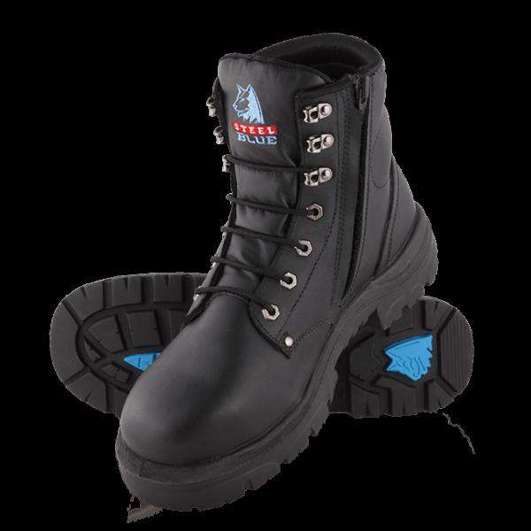 312152 Steel Blue Argyle Zip Safety Boots Black
