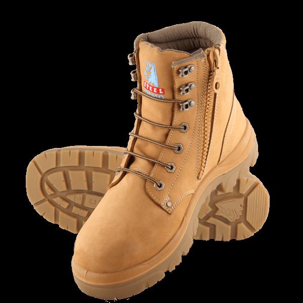 312152 Steel Blue Argyle Zip Safety Boots Wheat