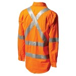 Workit 2017O NSW Rail Hi-Vis Light Weight Cotton Drill Shirt With 3M™ TapeWorkit NSW Rail Shirt 2017O (Workwear Clothing) back