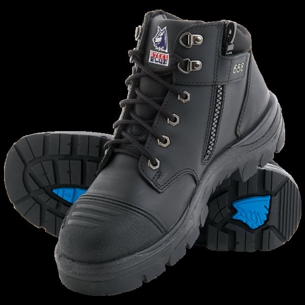 312658 Parkes Zip Steel Blue Safety Boots Black
