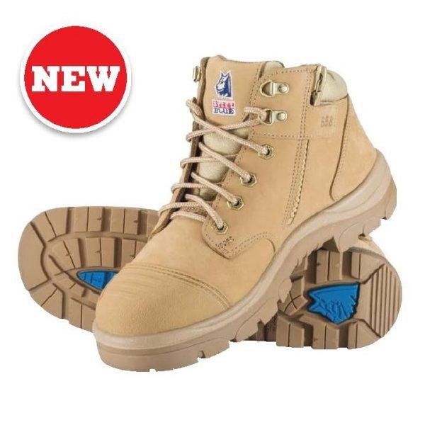 312658 Parkes Zip Steel Blue Safety Boots Sand