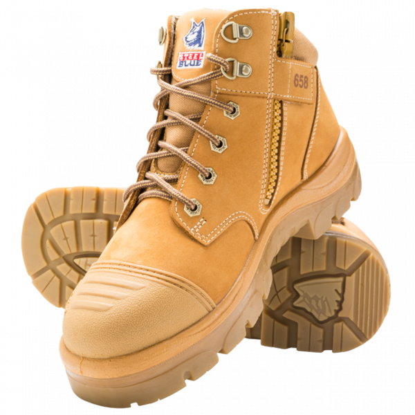 312658 Parkes Zip Steel Blue Safety Boots Wheat