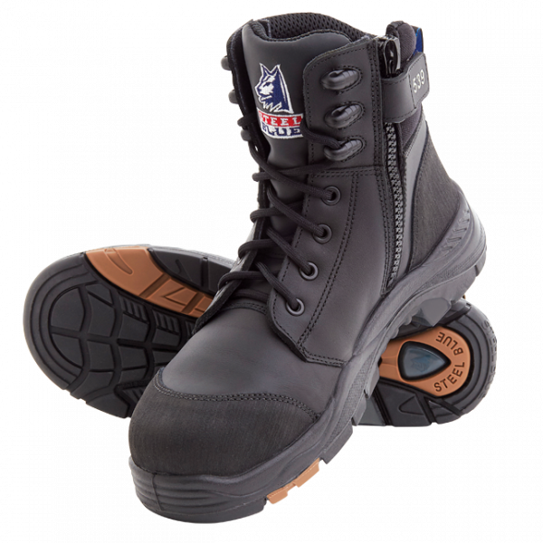 Steel Blue Torquay Zip Side Safety Boots 617539 (MenBoots) Black