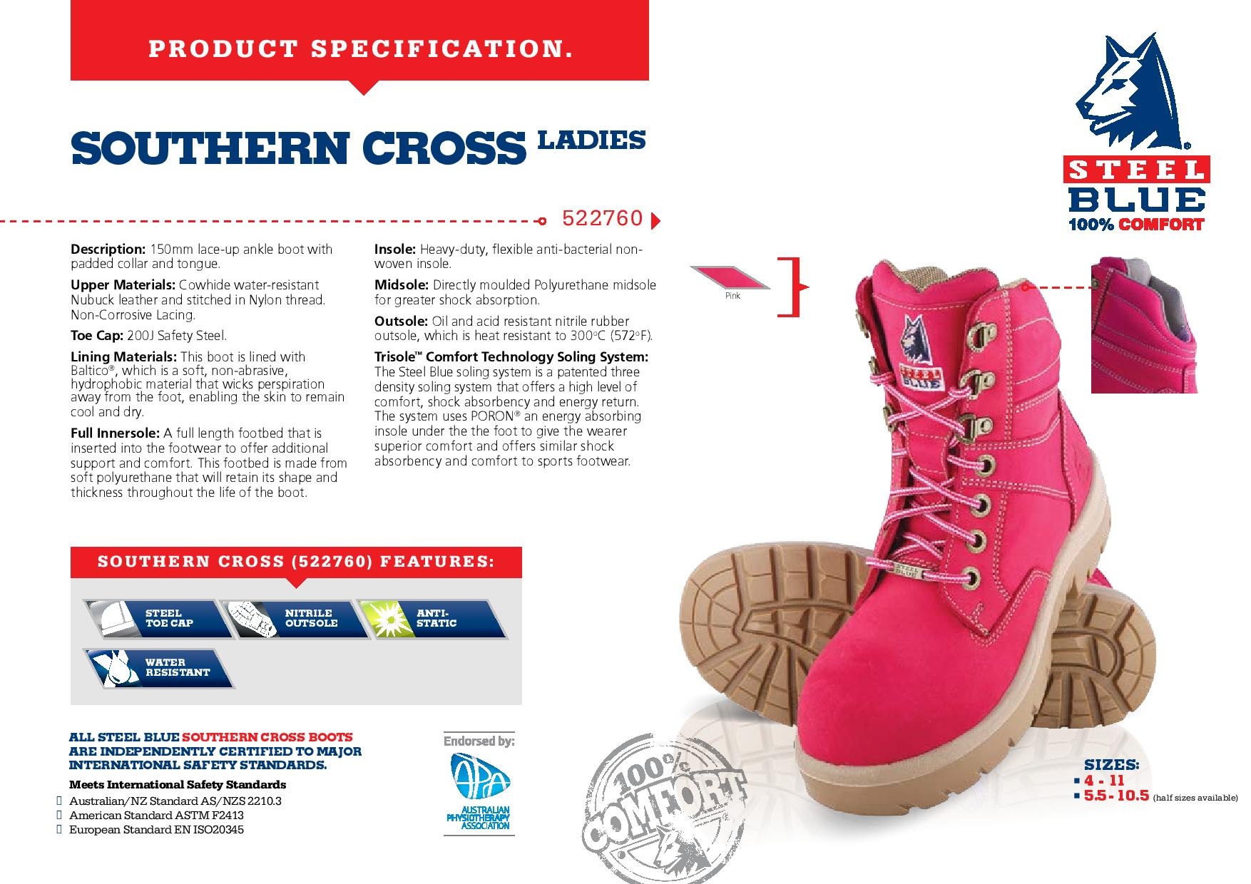 5a9ede2e559 Steel Blue Ladies Southern Cross Nitrile 522760 Lace Up Safety Boots