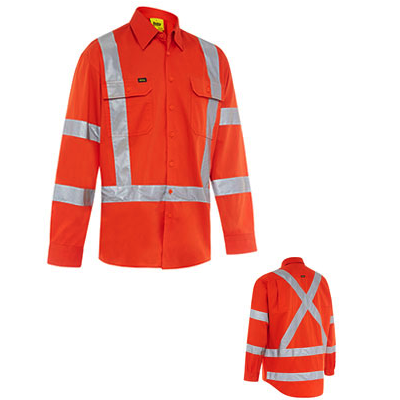 Bisley X Back Cool Lightweight NSW Orange Rail Shirt BS6166XT (Workwear Clothing)