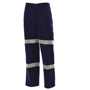 Workit 1004DT Cotton Drill Cargo Pants Twin Hoop 3M™  TapeWorkit 2 Hoop Navy Cargo Pants 1004DT (Workwear Clothing)