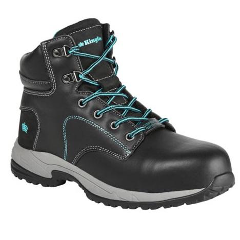Kingee Ladies Tradie Zip Black Safety Cheap Work Boots K27370 H