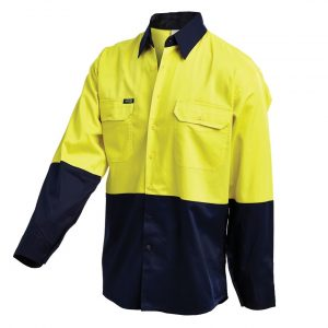 Workit 2007 Hi-Vis 2-Tone Lightweight Drill L/Sleeve Shirt2007 cheap work boots workit workwear Hi-Vis Shirt yellow navy