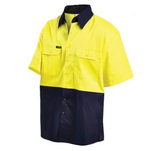 Workit 2008 Hi-Vis 2-Tone Lightweight Drill S/Sleeve Shirt2008 cheap work boots workit workwear Hi-Vis Shirt yellow navy