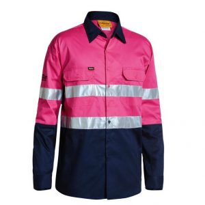 Bisley BS6896 3M Taped 2-Tone Hi-Vis Cool Lightweight L/Sleeve Pink/Navy Mens Shirt