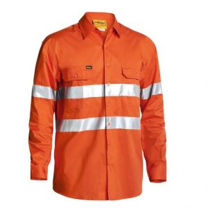 Bisley BS6897 Cool Lightweigt L/Sleeve Hi-Vis Mens Shirt With 3M Tape