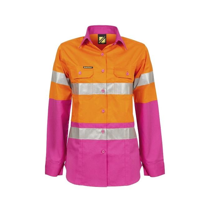 Cheap Work Boots Workcraft Hi-Vis Shirt Orange Pink WSL501 Ladies Front