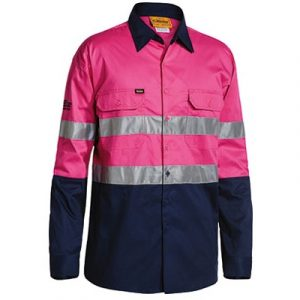 Bisley BS6896 3M Taped 2-Tone Hi-Vis Cool Lightweight L/Sleeve Pink/Navy Mens Shirtcheap work boots bisley BS6896_Pink Navy