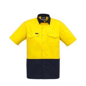 Syzmik ZW815 Mens Hi-Vis RipStop S/S Shirtcheap work boots Syzmik ZW815_yellow-Navy