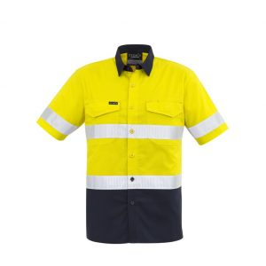 Syzmik ZW835 Mens S/Sleeve Taped Hi-Vis Shirtcheap work boots Syzmik ZW835_Yellow-Navy