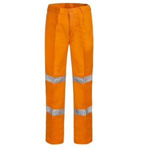 Workcraft WP4006 Single Pleat Cotton Drill Pants 3M Tapecheap work boots Workcraft WP4006_orange front