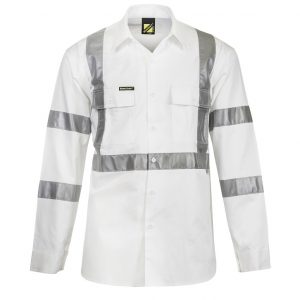 Workcraft WS3222 Hi-Vis L/S 3M X-Back Shirt Night Usecheap work boots workcraft WS3222_WHITE_front