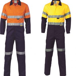 DNC 3955 Hi-Vis Cool-Breeze 2 tone Leight Weight Cotton Overalls with 3M TapeCheap Work Boots DNC 3955 Hi-Vis Overalls