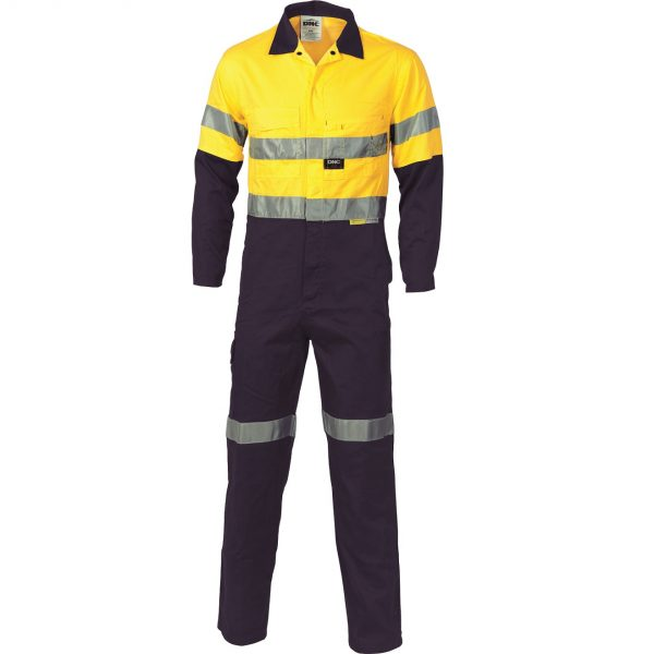 Cheap Work Boots DNC 3955 Hi-Vis Overalls Yellow Navy