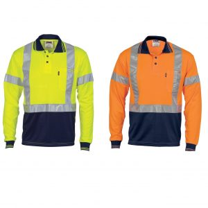 DNC 3914 Hi-Vis D/N Cool-Breathe L/Sleeve Polo Shirt With X-Back R/TapeCheap Work Boots DNC Hi-Vis Polo 3914