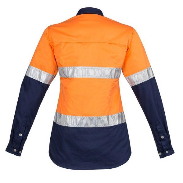 Cheap Work Boots Syzmik Ladies Shirt ZWL123_Orange Navy Back