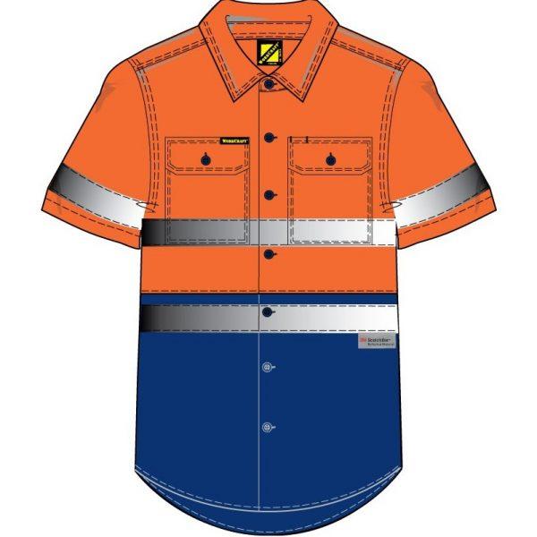 Cheap Work Boots Workcraft Hi-Vis Shirt WS4004 Orange Navy