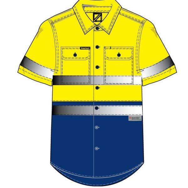 Cheap Work Boots Workcraft Hi-Vis Shirt WS4004 Yellow Navy