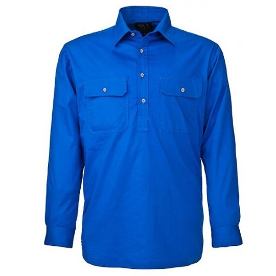 Cheap Work Boots Pilbara Shirt RM200 Closed Front Cobalt Blue