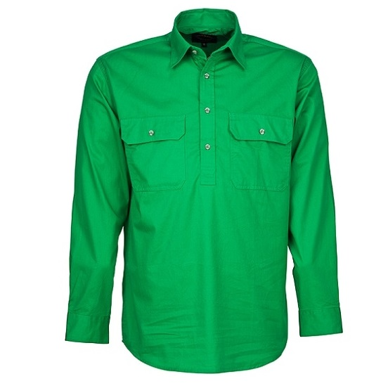 Cheap Work Boots Pilbara Shirt RM200 Closed Front Emerald