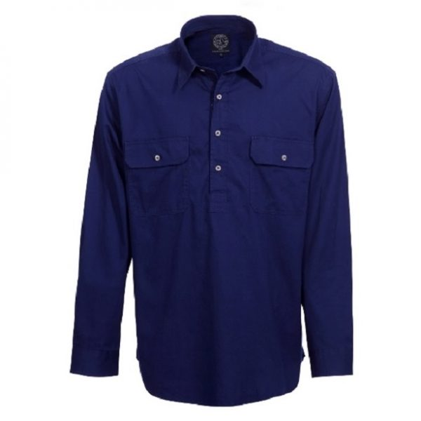 Cheap Work Boots Pilbara Shirt RM200 Closed Front French Navy