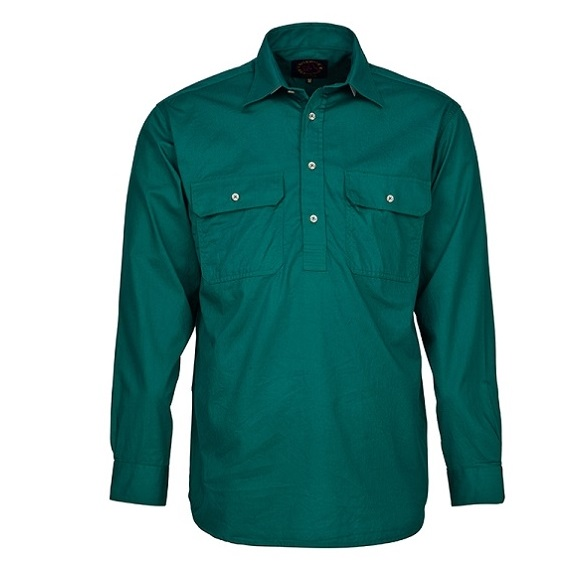 Cheap Work Boots Pilbara Shirt RM200 Closed Front Green