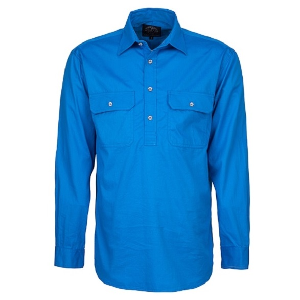 Cheap Work Boots Pilbara Shirt RM200 Closed Front Light Blue