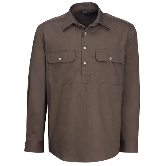 Cheap Work Boots Pilbara Shirt RM200 Closed Front Olive
