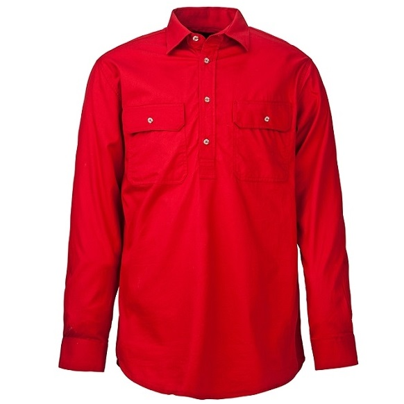 Cheap Work Boots Pilbara Shirt RM200 Closed Front Red