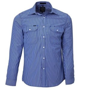 Pilbara RMPC010 Mens L/Sleeve Double Pockets Shirt