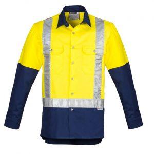Syzmik ZW124Mens Hi Vis Spliced Industrial Shirt - Shoulder Taped