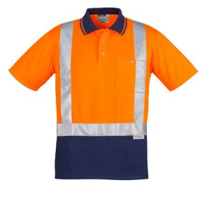 Syzmik ZH233 Mens Hi Vis Spliced Polo - Short Sleeve Shoulder Taped