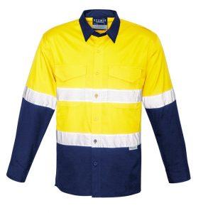 Syzmik ZW129 Mens Rugged Cooling Taped Hi Vis Spliced L/S Shirt