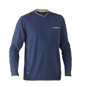 Bisley BK6933 Flex & Move Cotton L/Sleeve V-Neck Tee