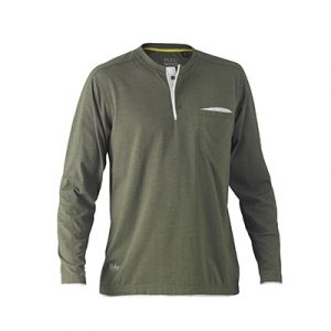 Bisley BK6932 Flex & Move Cotton L/Sleeve Henley Tee