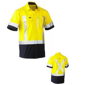 Bisley BS1177XTFlex & Move Two Tone Hi Vis Stretch Utility Shirt S/Sleeve