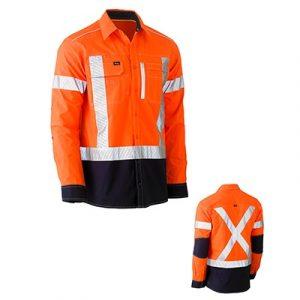 Bisley BS6177XTFlex & Move Two Tone Hi Vis Stretch Utility Shirt L/Sleeve
