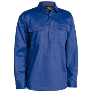 Bisley BSC6433 Closed Front Cotton Drill L/Sleeve Shirt