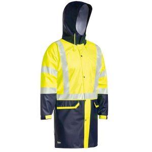Bisley BJ6935HT Taped Two Tone Hi Vis Stretch PU Rain Coat