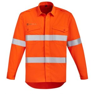 ZW145 Mens Orange Flame HRC 2 Hoop Taped Open Front Spliced Shirt