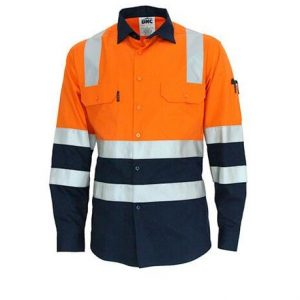 DNC 3547 Hivis 2 tone L/W cotton bio-motion & X back l/Sleeve shirt with CSR R/tape