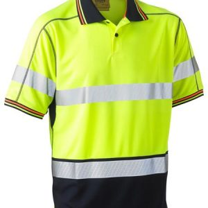 Bisley BK1219T Taped Two Tone Hi Vis Polyester Mesh Short Sleeve Polo Shirt