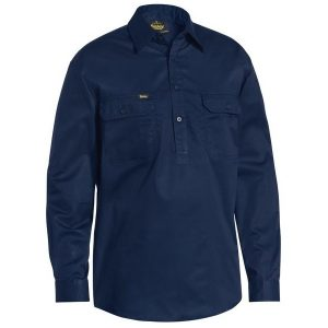 Bisley BSC6820 Closed Front Cotton Light Weight Drill Shirt - Long Sleeve