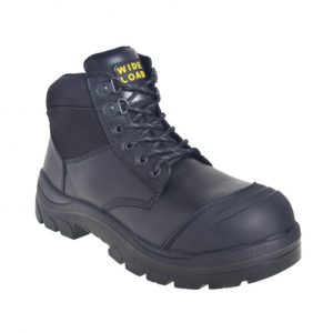 Wide Load 690BZ - 6inch Black Steel Toe Zip Side Boot